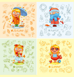 baby girl and the four seasons vector image