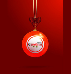 christmas bingo lottery bauble on red background vector image