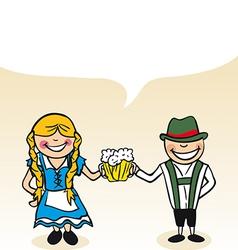 German cartoon couple bubble dialogue vector image