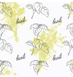 Hand drawn basil branch and handwritten sign vector image vector image