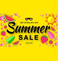 summer sale template horizontal flat paper banner vector image vector image