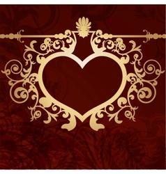 Vintage valentine background with golden heart vector image vector image