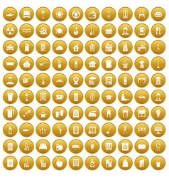 100 cleaning icons set gold vector image vector image