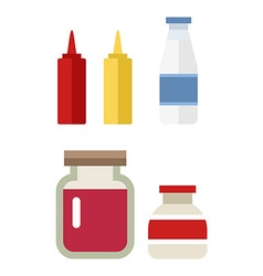 color flat kitchen bottle set Sauce milk jam Flat vector image vector image