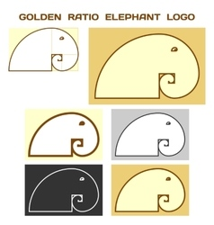 Elephant logo based on golden ratio divine vector