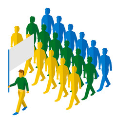flag bearer and a lot of people vector image