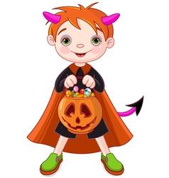 Halloween trick or treating boy vector
