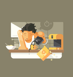 morning coffee in kitchen vector image