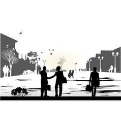 people gray silhouettes vector image