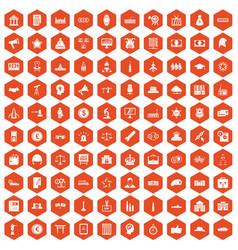 100 government icons hexagon orange vector