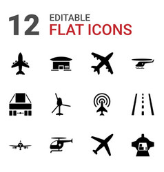 12 jet icons vector image