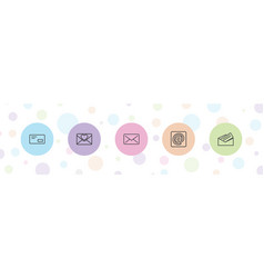 5 email icons vector