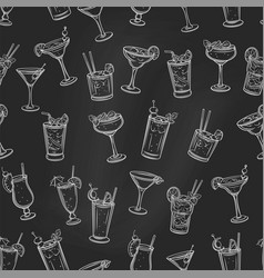 Alcoholic summer cocklails seamless pattern vector