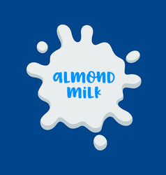 Almond milk banner icon with white splash and vector