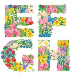 Alphabet flowers efgh vector