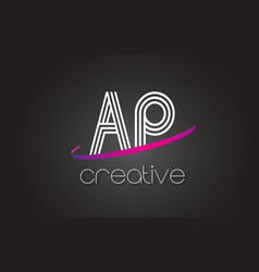 ap a p letter logo with lines design and purple vector image