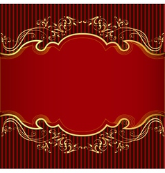 Background with golden ornament and red vector