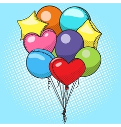 Balloons colorful pop art style vector