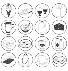 Basic Dairy Products Icons Set vector image