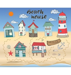 Beach huts and bungalows hand drawn outline color vector