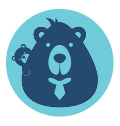 Bear dad father with balogo silhouette head vector