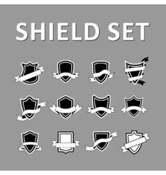 Black Shields and ribbons vector image