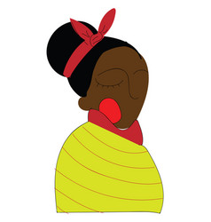 black skinned woman in traditional clothes color vector image