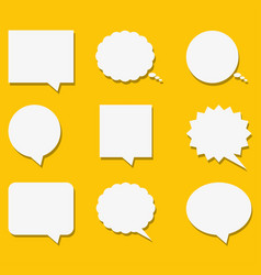 Blank empty white speech bubbles with shadows in vector