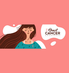 breast cancer awareness banner happy young girl vector image