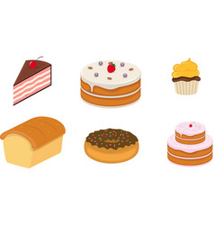 cake pastry and bread icon vector image