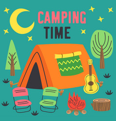 Camping time poster with a tent in night vector