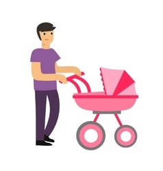 Cartoon Cute Dad with a Stroller vector image