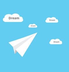 catching a dream with plane paper and dream cloud vector image
