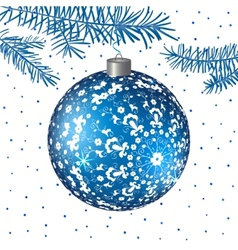 Christmas blue ball with folk ornament background vector image vector image