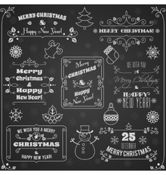 Christmas labels chalkboard set vector image