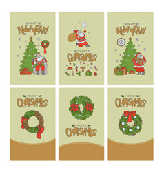 christmas set greeting cards with gold lettering vector image