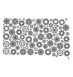 Collage map of south dakota state with gears vector