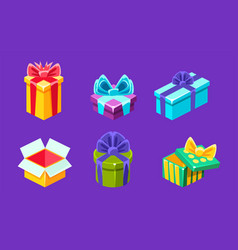 colorful gift boxes with bows and ribbons set vector image