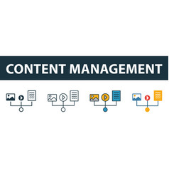 Content management icon set four elements in vector