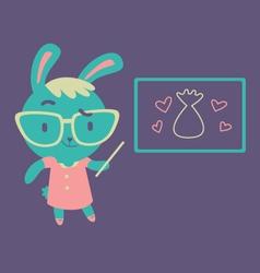 Cute Bunny Kindergarten Teacher vector image
