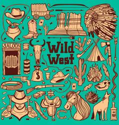 Dark wild west set in hand drawn style vector