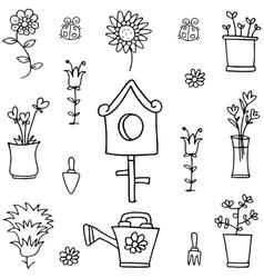Doodle of object garden spring vector