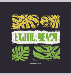 Exotic beach graphic t-shirt design vector