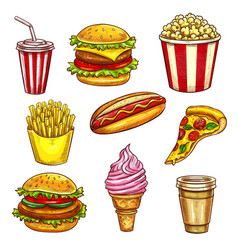 Fast food lunch takeaway dishes isolated sketch vector