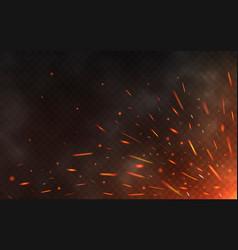 fire sparks flying up on transparent background vector image