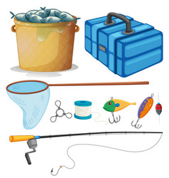 Fishing set with fishing pole and tools vector