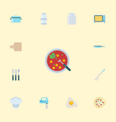 Flat icons silverware breadboard broth and other vector