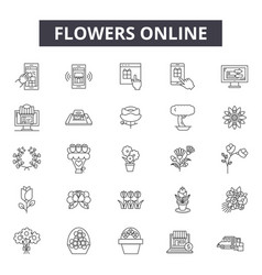 flowers online line icons signs set vector image