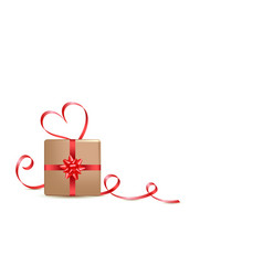 gift box and red calligraphy stripe valentines vector image