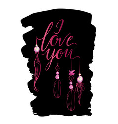 greeting card luxury pink i love you vector image